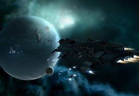 fleet of ships - moons, space station, stars, gas cloud, sun, ships, planet