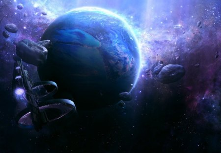 fantasy space art - asteroids, stars, planet, ships, space station, nebula