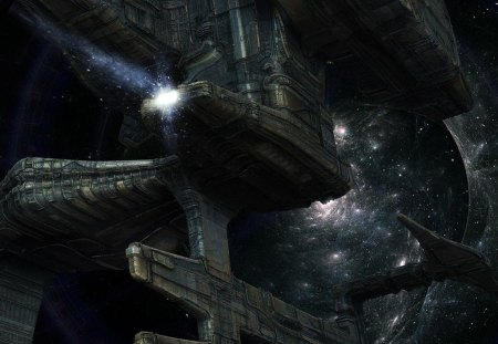 fantasy space art - stars, starship, lights, galaxy