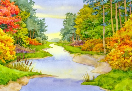 Painting - river, painting, tree, art, nature