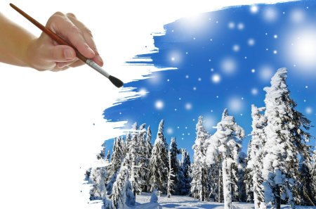 Winter - pretty, beautiful, clouds, snowy, brush, sweet, photography, hand, beauty, lovely, winter time, sky, trees, winter, tree, paiting, snow, snowflakes, drawing, nature, landscape