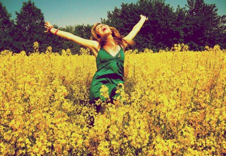 Endless happiness♥ - dress, yellow, young, green, love, bright, forever, rape, happiness, smile, happy, girl, warmth, summer, sunshine, nature, field