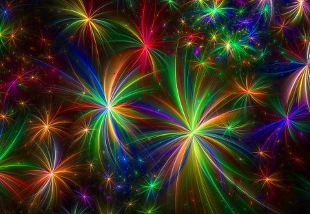 Fireworks - colorful, rainbow, fireworks, graphics