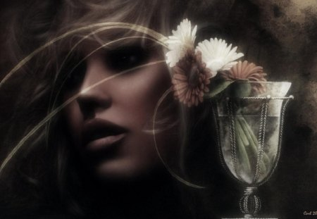 In her mind, the greatest moments past - flowers, art, woman, girl