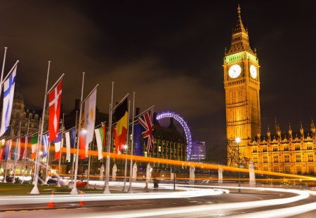 London - architecture, beautiful, city, splendor, flags, beauty, road, light, street, night, amazing, london eye, lovely, city lights, view, england, buildings, colors, flag, building, london, peaceful, big ben