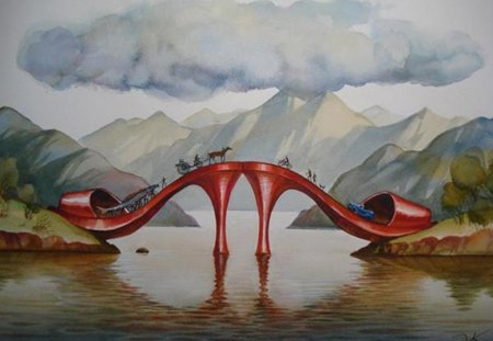 fashionable bridge - fantasy, bridge, painting, shoes, nature
