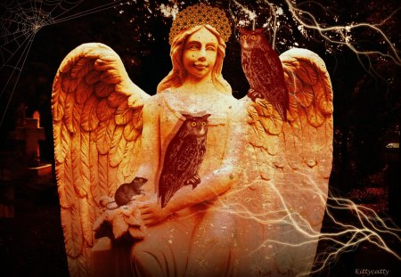 ♥     Golden Angel     ♥ - light, halloween, spooky, night, rat, golden angel, owl, angel