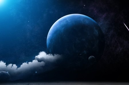 MOON FANTASY - space, fantasy, stars, blue, clouds, sky, planet, moon
