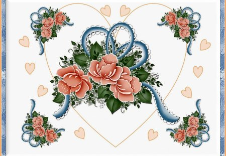 HEARTS & ROSES. - framed, blue, peach, hearts, roses