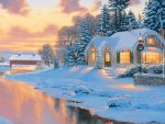 cottage lights in winter