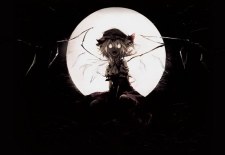 The Creepy Moon - creepy, moon, wings, flandre, flandre scarlett, touhou, scarlett, yandere