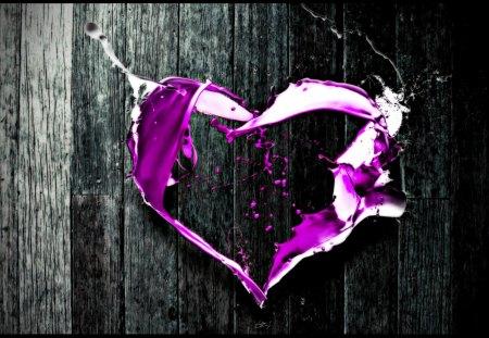 PURPLE HEART - digital, selective, coloring, art, abstract-love-purple, heart