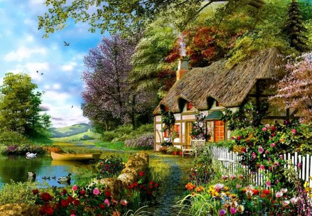Summer in countryside - colorful, serenity, peaceful, lake, painting, countryside, calmness, flowers, sky, water, nice, summer, trees, cabin, reflection, beautiful, greenery, lovely, river, clouds, cottage, village
