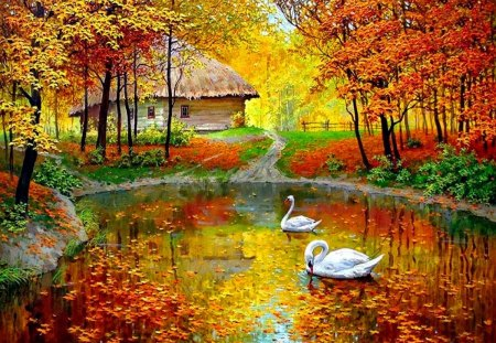 Autumn pond - peaceful, lake, painting, creek, forest, branches, pond, bungalow, autumn, countryside, swans, nice, trees, fall, cabin, reflection, beautiful, lovely, foliage, cottage, house, falling, picture, shore, leaves