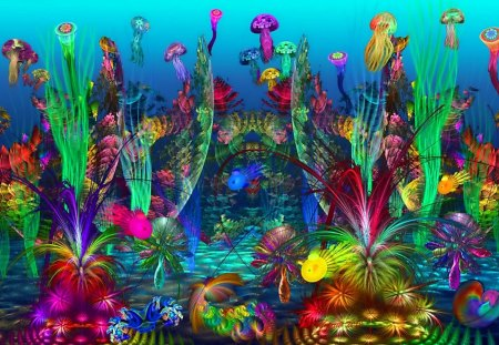 The Happy Reef - underwater, graphics, reef, happy, coral, jelly