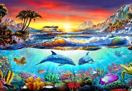 Dolphins\' Paradise - sunset, chesterman, palm, painting, fish, underwater, tropical, adrian, dolphin, sea