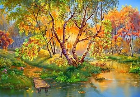 Autumn Landscape - autumn, forest, river, painting, tree, landscape
