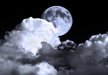 Hidden moon - hd, clouds, sky, moon, night, nature, wallpaper