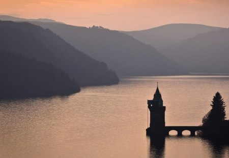 The Tower On The Lake - sunrise, tower, hills, sunset, castle, lake, bridge, water, mountains, silhouette, beautiful, pretty
