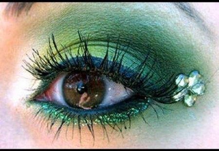 GREEN EYE - green, eye, lady, make up