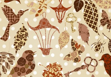 Nature Abstract Browns - autumn, dragonfly, butterfly, keys, birds, abstract, patterns, nature, fall, papillon, brown, vintage, bird cages, insects, quilt
