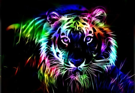 Colorful fractal tiger - Cats & Animals Background ...