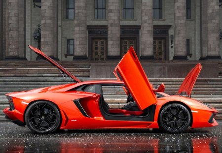 Lamborghini  Aventador   lp700-4 - the building, side view, the doors, orange, lamborghini, aventador lp700-4, lamborghini aventador lp700-4