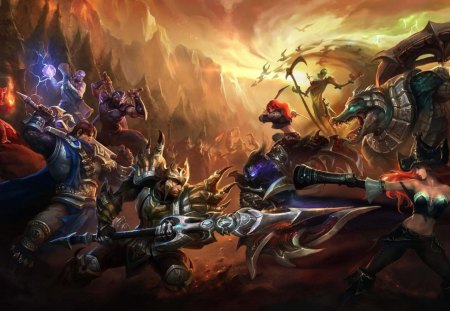 Battle of Legends - tibbers, games, ryze, video games, renekton, league of legends, jarven iv, miss fortune, nocturne, garen, katarina, katarina du couteau, war, fiddlesticks, weapons, annie, battle, shen, fight, armour