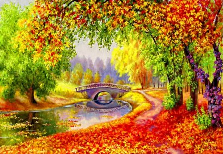 Autumn forest river - falling, colorful, yellow, creek, forest, green, red, lake, shore, riverbank, nature, pond, peaceful, water, fall, stream, calm, river, place, autumn, quiet, leaves, serenity, foliage, reflection, painting