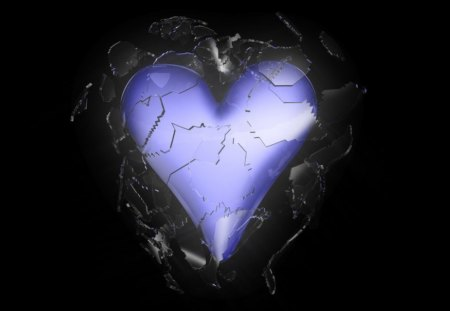 Shattered Heart - purple heart, smashed, gothic, broken hearted