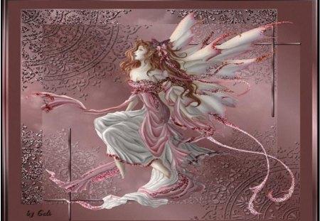 Mystical Fairy - elegant fairy, frame, art