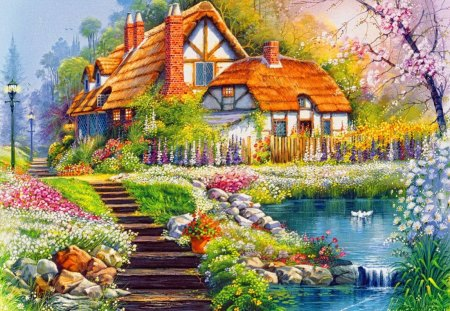 Peaceful place - serenity, peaceful, painting, creek, slope, blooming, stairs, blossoms, delight, calm, quiet, calmness, flowers, nice, summer, cabin, fishing, beautiful, lovely, river, spring, reflections, cottage, house, village