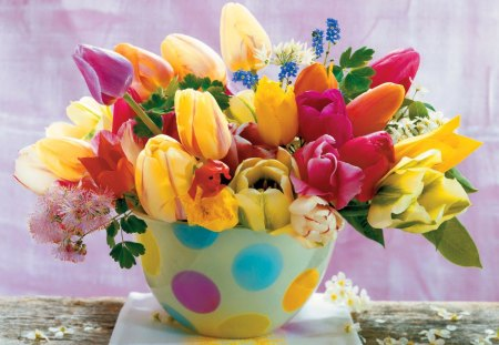 Beautiful flowers - lovely, love, vase, colorful, harmony, flowers, spring, pretty, tulips, beautiful, summer, room, delicate, table, nice, romance, still life, romantic, fresh