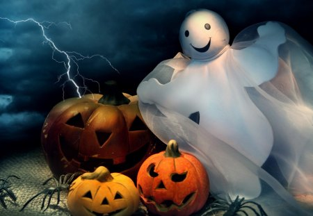 Happy Halloween Ghost - pumpkins, happy, jack o lanterns, spiders, whimsical, cute, ghost, lightning, halloween