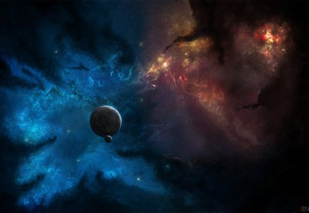 Stars and Planets in Colorful Galaxy - galaxies, planets, stars, space