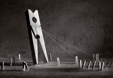 Manipulator - marionettes, black, photography, white