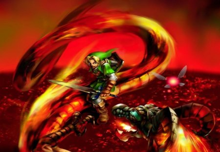 Ocarina Of Time - red, fire dragon, link, navi, the legend of zelda ocarina of time, video games, n64, artwork, fire, green, tunic, zelda, fairy