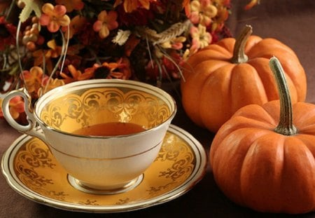 autumn tea time - autumn, still life, abstract, tea time
