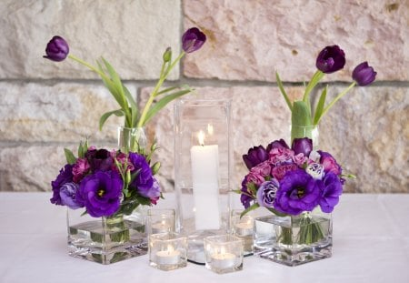 Light of my Purple Dreams♥ - love, candles, tall, anna and lui, white, entertainment, tulips, preecious, sisterhood, special, square vase, friendship, arrangement, table, fresh flower posy, purple, light, burning, forever