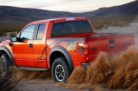 DESERT STORM - red, vehicles, clouds, cars, wilderness, speed, sand, mountains, ford, trucks, pickup