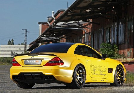Mercedes Benz SL 55 Liquid Gold - benz, cars, gold, liquid, 55, mercedes, sl