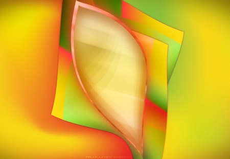 Glowing Bud - pink, smooth, green, abstract, shiny, glow, layers, yellow