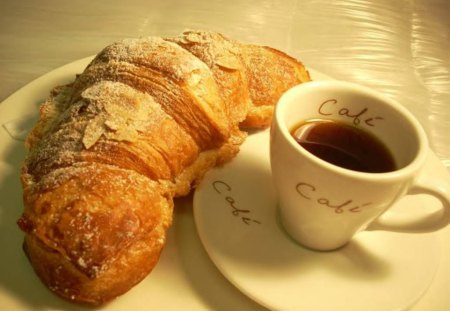 Breakfast, Anyone? - croissant, coffee, cup, table