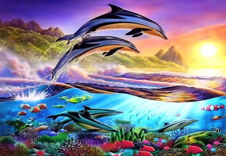 Dolphins' Paradise - sunset, chesterman, ocean, painting, fish, coral, underwater, paradise, adrian, dolphin, sea