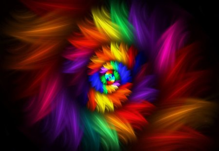 Feathery Spiral - colorful, rainbow, abstract, feather, spiral