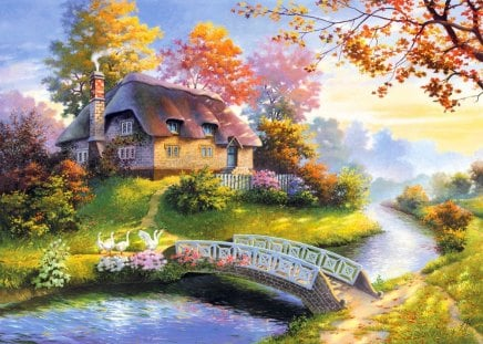 Countryside beauty - colorful, grass, sunlight, peaceful, shine, stream, creek, gloe, calm, place, autumn, countryside, sun rays, bridge, nice, summer, nature, trees, fall, cabin, reflection, beauty, beautiful, lovely, river, pretty, cottage, house, village, falling, leaves