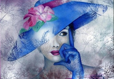 Art - hat, painted, italian impressionism, woman, gloves, blue, beautifully, flower