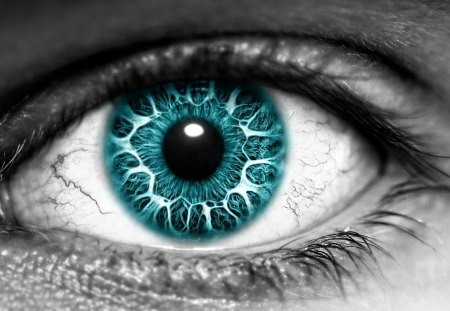 Eye - white, blue, abstract, eye, black
