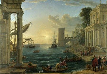 Claude Lorrain - painting, claude lorrain, ships, art