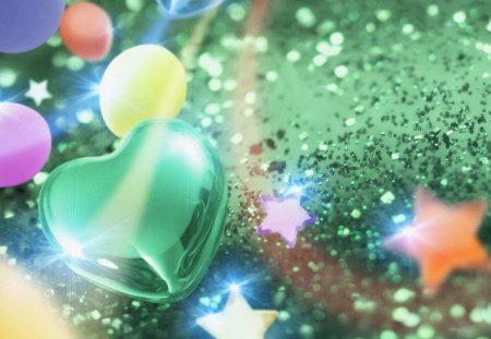SHADES OF GREEN - celebration, hearts, stars, balloons, sparkles, glitter, green
